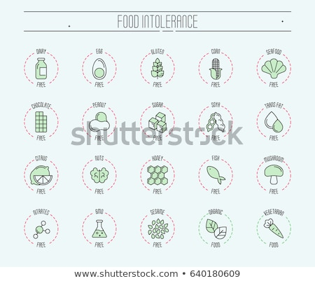 allergen free sign seafood vector thin line icon stock photo © pikepicture