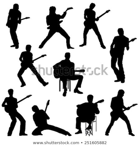 Jumping guitar player isolated illustration Stock photo © tiKkraf69