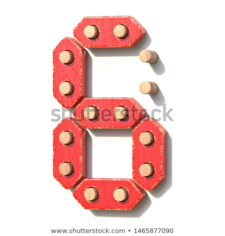 Houten speelgoed Rood digitale aantal zes 3D Stockfoto © djmilic