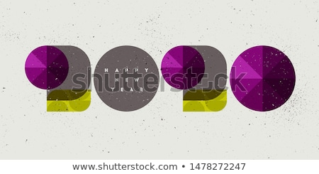 Happy New Year 2020 card with vintage numbers and purple gemstones Stock photo © ussr