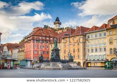 történelmi · homlokzat · Graz · kép · piros · város - stock fotó © borisb17