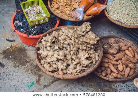 Jengibre cesta mercado textura Foto stock © galitskaya