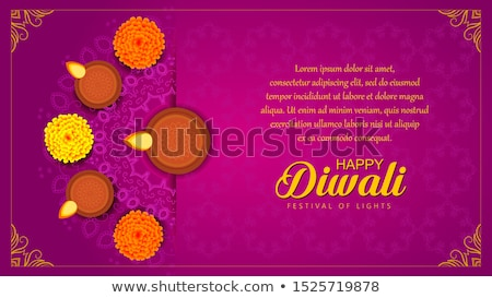 happy diwali sale banner with diya and marigold flower Stock photo © SArts