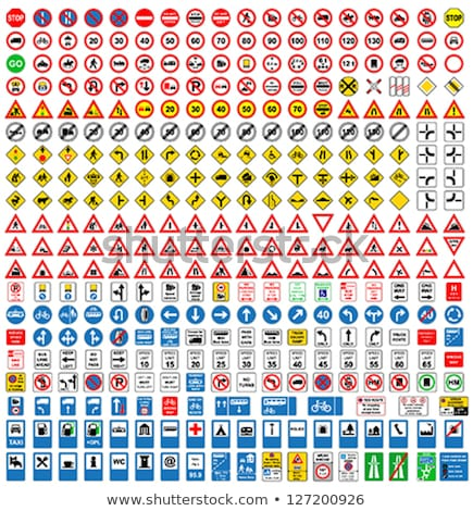 Foto stock: Icons Set Of Road Signs