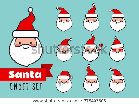 Santa Claus Cartoon Character Face Portrait Set. Flat Vector Collection  Stock photo © hittoon