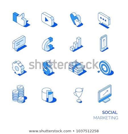 Social networking comunicação isométrica ícones digital Foto stock © frimufilms