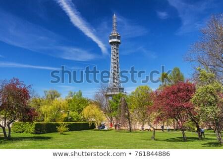 Torony Prága Csehország Európa domb turizmus Stock fotó © manfredxy