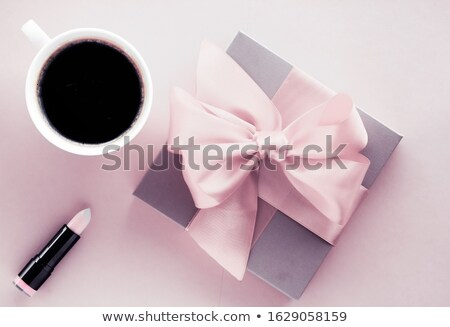 Luxury gift box and coffee cup on blush pink background, flatlay Stock photo © Anneleven