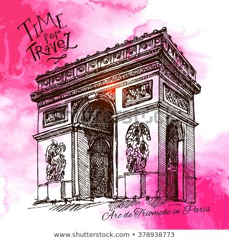 Outline Arch of Triumph. France Paris. Stock photo © ShustrikS