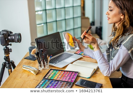 Makeup Beauty fashion blogger recording video presenting makeup  Stock photo © snowing