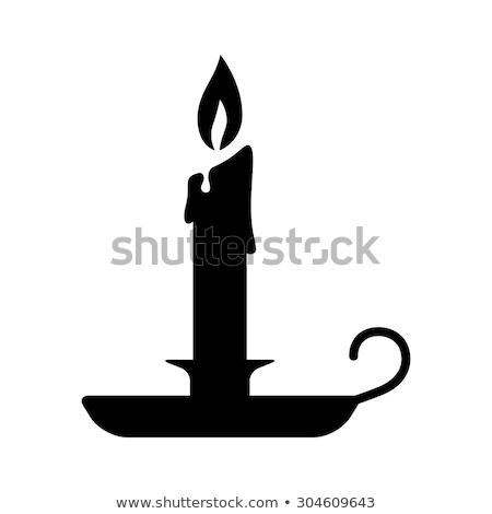 Silhouet kaarsen ingesteld geïsoleerd zwart wit Stockfoto © blackmoon979