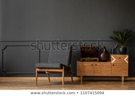 empty room with black wooden floor Stock photo © sedatseven