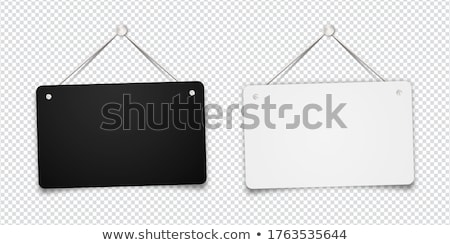 White blank sign hanging on the rope, template for shop door on white Stock photo © evgeny89