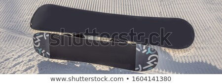 groomed empty ski piste background with snowboards BANNER, LONG FORMAT Stock photo © galitskaya