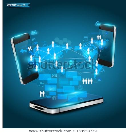 люди взаимодействие связи приложение интерфейс шаблон Сток-фото © RAStudio