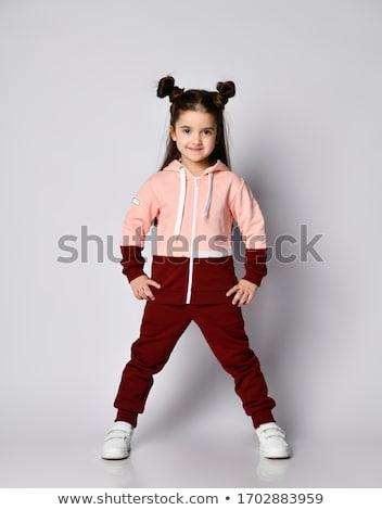 kinderen · gymnasium · weinig · blond · meisje · poseren - stockfoto © lunamarina