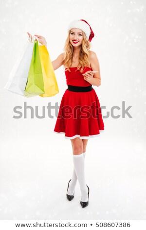 gyönyörű · szőke · nő · karácsony · jelmez · bevásárlótáskák - stock fotó © nobilior