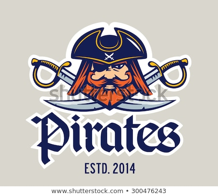 Pirate Mascot with Sword and Hat Graphic Vector Illustration Stock photo © chromaco