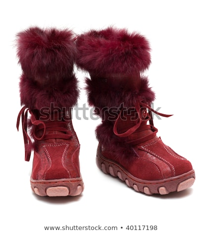 Crimson suede baby boots with fur Stock photo © RuslanOmega