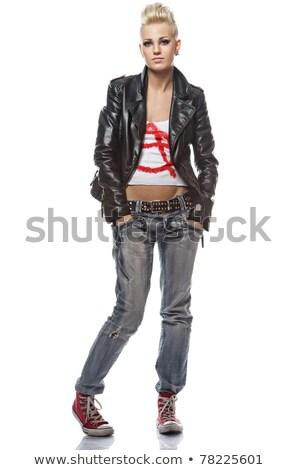 Izolált punk lány csinos nő kéz Stock fotó © keeweeboy