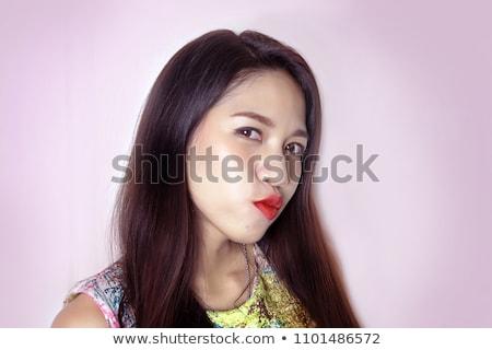 Seksi kadın kırmızı elbise yalıtılmış beyaz kız gülümseme Stok fotoğraf © artjazz