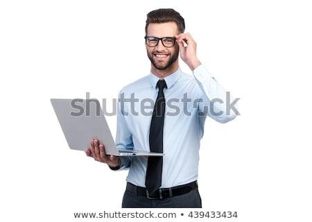 бизнесмен белый торжествующий костюм изолированный лице Сток-фото © elenaphoto