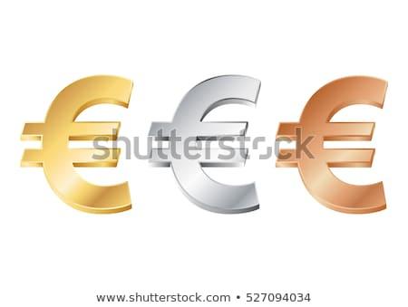 Arany Euro felirat fényes kék pénzügy Stock fotó © HerrBullermann