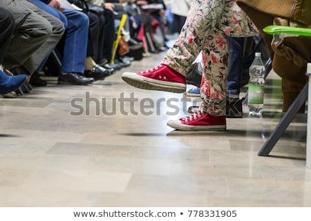 Kırmızı bekleme odası ağaç sandalye kitaplar pencere Stok fotoğraf © Elenarts