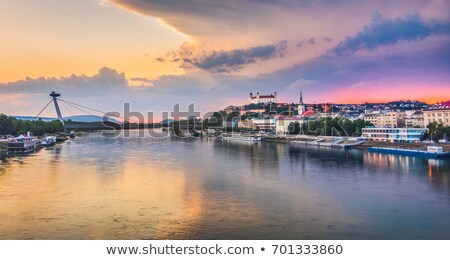 Bratislava castle with New Bridge over Danube River, Slovakia Stock photo © phbcz