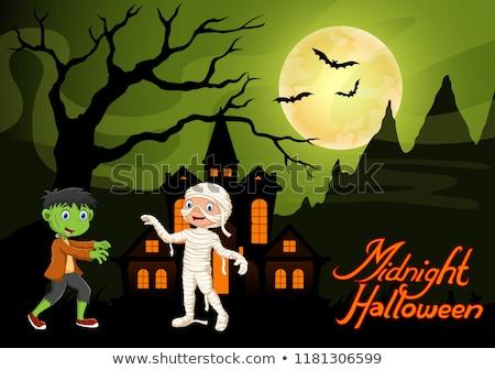 Pequeno bruxa menina lua cheia noite bonitinho Foto stock © meshaq2000