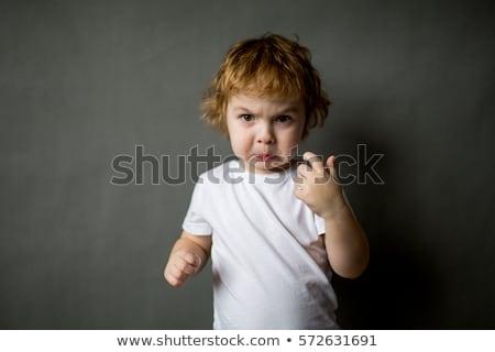 bonitinho · menino · raiva · isolado · branco · crianças - foto stock © photocreo