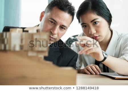 építész asszisztens néz modell lakásügy üzlet Stock fotó © photography33