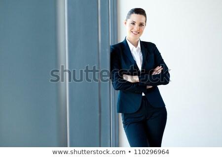 aantrekkelijk · jonge · zakenvrouw · pak · mooie · aardbei - stockfoto © christinerose81