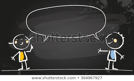 Foto stock: Blank Speech Bubbles With Cartoon Figures Drawn On A Blackboard Background