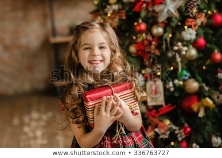 young smiling girl with red hat and present christmas Stock photo © juniart