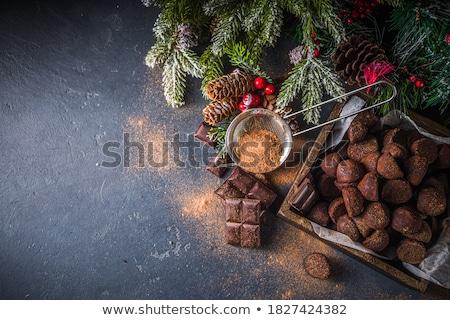Karácsony cukorka tányér édesség bögre ital Stock fotó © komodoempire