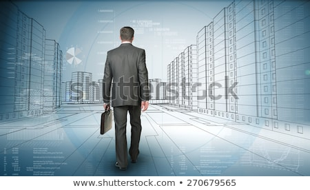 Stock photo: Business man with briefcase walk on wire