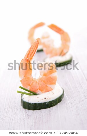 canape with cream and shrimp Stock photo © M-studio
