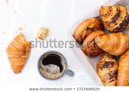 Kupa kruvasan siyah kahve taze kahve ekmek Stok fotoğraf © toaster
