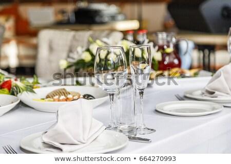 servido · banquete · tabela · romântico · noite - foto stock © oleksandro