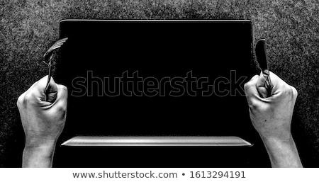 közelkép · kés · villa · fehér · háttér · fém - stock fotó © neirfy