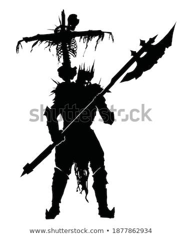 középkori · lovag · kőfal · férfi · háború · kék - stock fotó © vaeenma