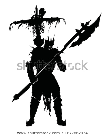 Caballero negro armadura cielo armas medieval Foto stock © vaeenma