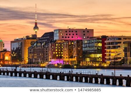 ベルリン · ドイツ · 日没 · 屋上 · 表示 · テレビ - ストックフォト © elxeneize