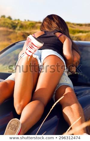 Sexy молодые целоваться пару изолированный белый Сток-фото © acidgrey