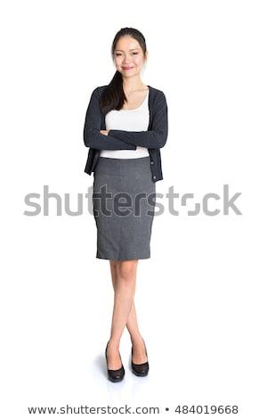 tam · uzunlukta · portre · mutlu · gündelik · Asya · kadın - stok fotoğraf © szefei