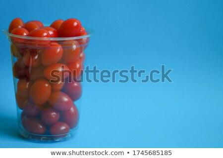 Stock fotó: Koktélparadicsom · kék · tál · csoport · zuhan · barna