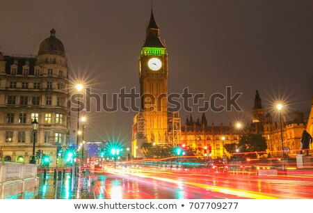 Illuminated Rainy Street in London at Night, United Kingdom Stock photo © anshar