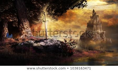ışık · kılıç · düello · adam · soyut · arka · plan - stok fotoğraf © elenarts