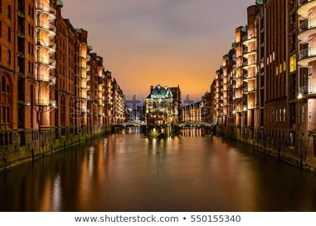 hamburg city of warehouses palace at night stock photo © lianem